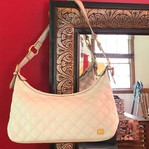 The Sak leather quoted hobo shoulder bag cream